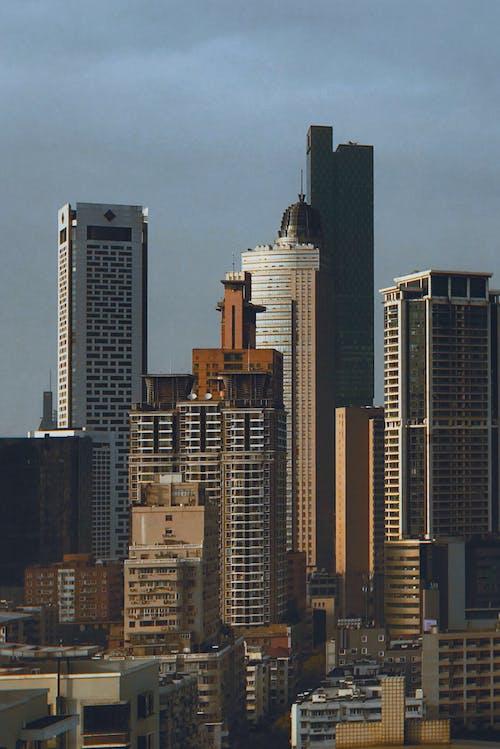 シティ, スカイライン, ドローンカメラ, ドローンビューの無料の写真素材