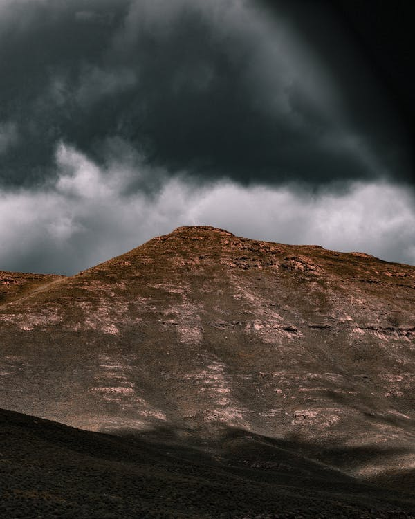 A Mountain Under Gray Clouds