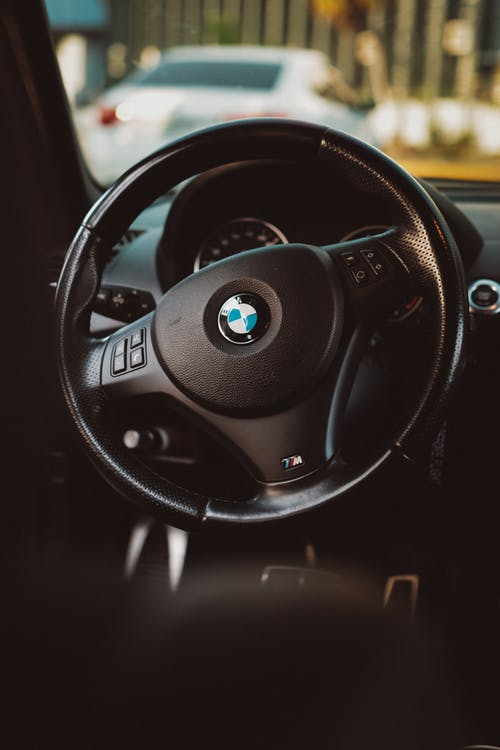 Black Bmw Car Steering Wheel