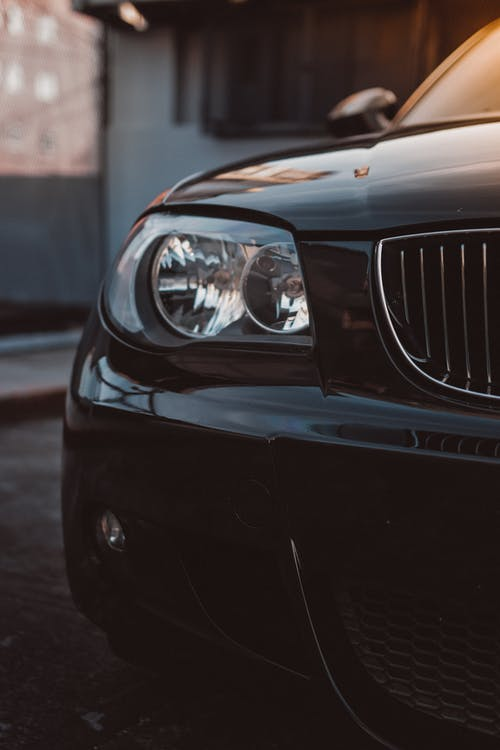 Black Car With Focus On Headlight