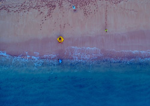 People on Beach From Above