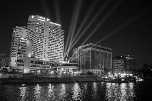 Free stock photo of architecture, black and white, building exterior, building on nile