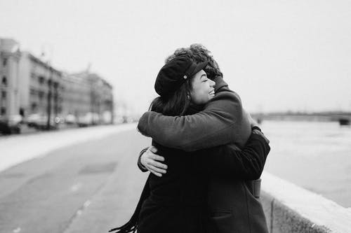 Monochrome Photo of Couple Hugging Each Other