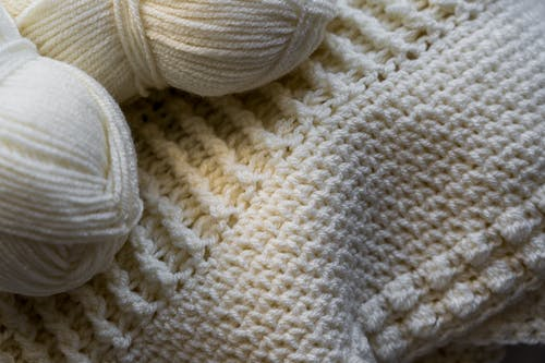 White Yarn on White Knit Textile