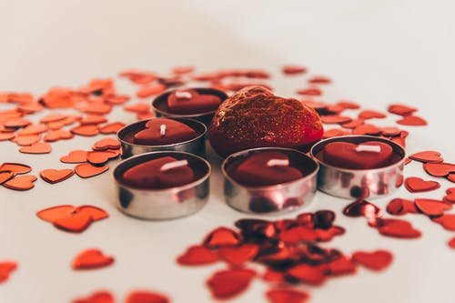 Red Heart Shaped Candles