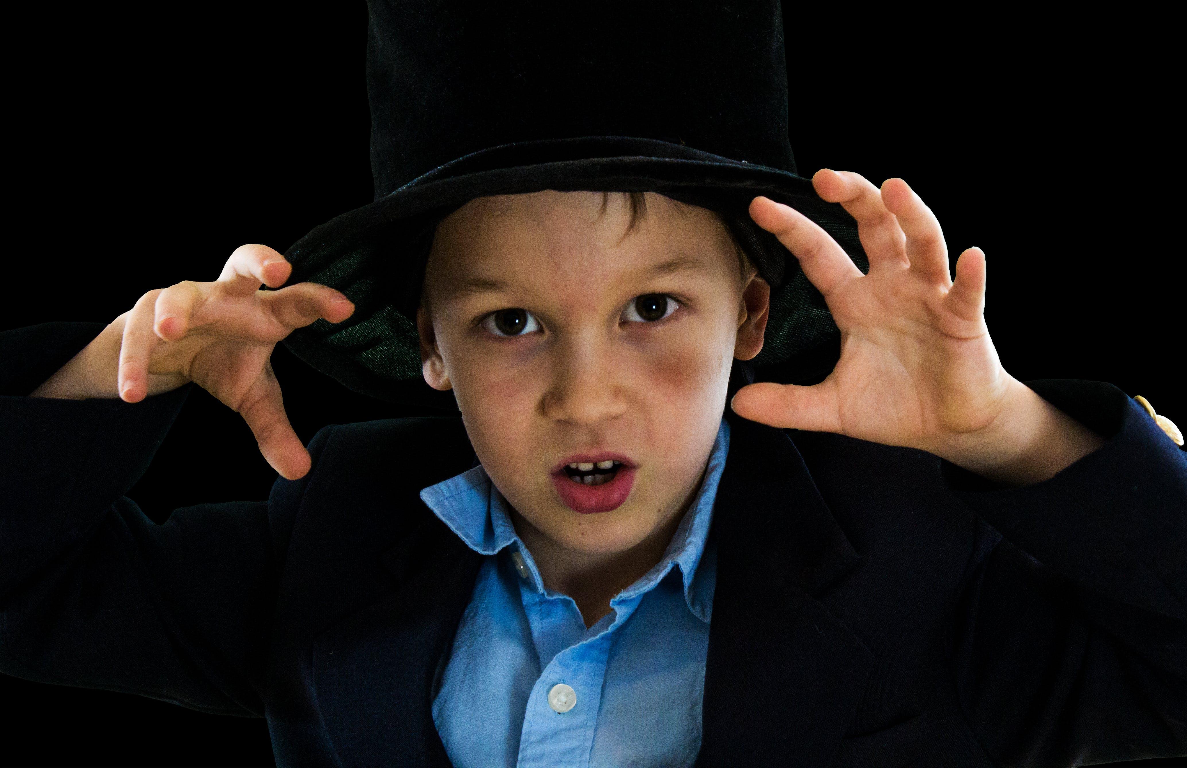 of boy, magic, magician, top hat