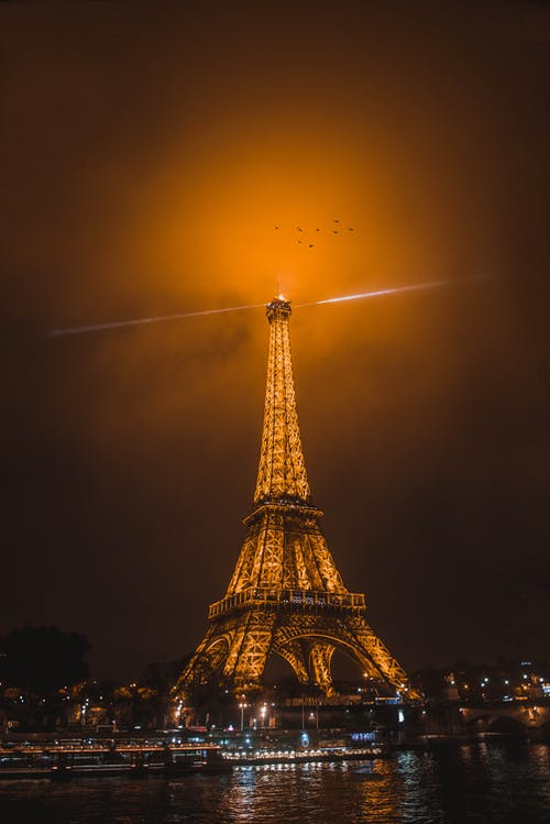 Eiffel Tower during Night Time on Low Angle Shot