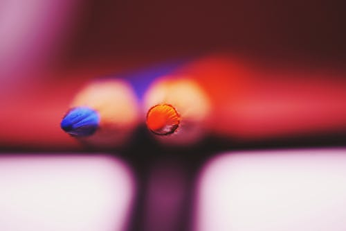 Selective Focus Photograph of Two Blue and Red Color Pencils