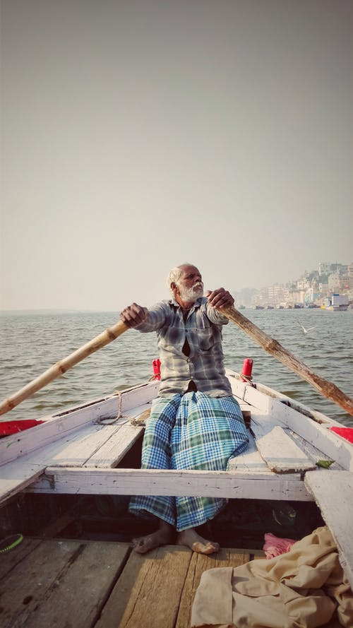 Free stock photo of boat ride, boatman, colors in india, Hand boat
