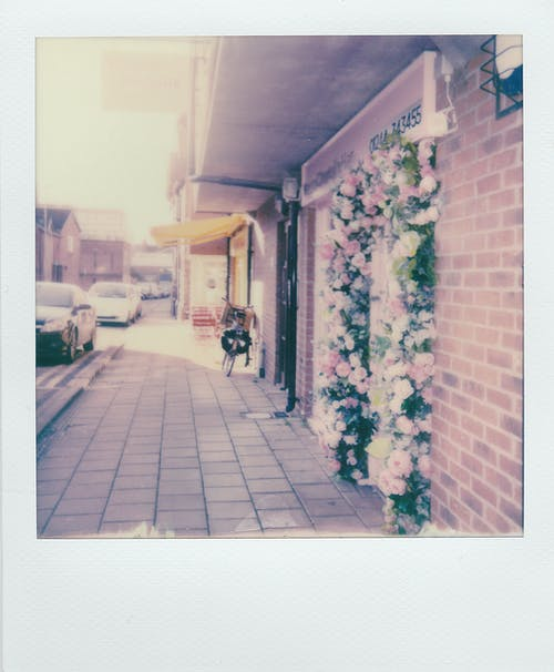 Building Exterior With Flowers On Doorway