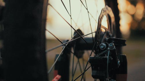 Close-up Photo of Black Bicycle Wheel