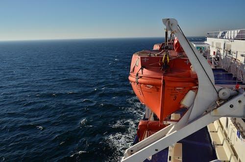 Orange and White Ship on Sea