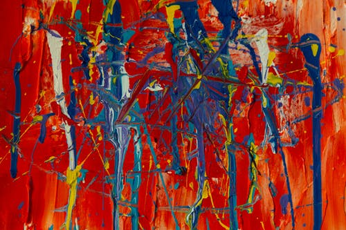 Photo of Blue And Red Abstract Painting