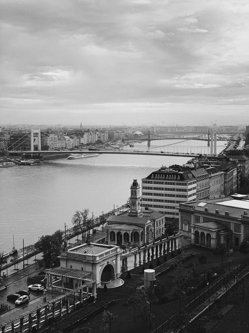 Photo of Monochrome  Concrete Bridge Beside City