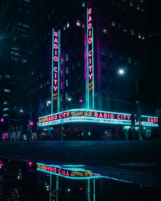 Radio city music hall during night time