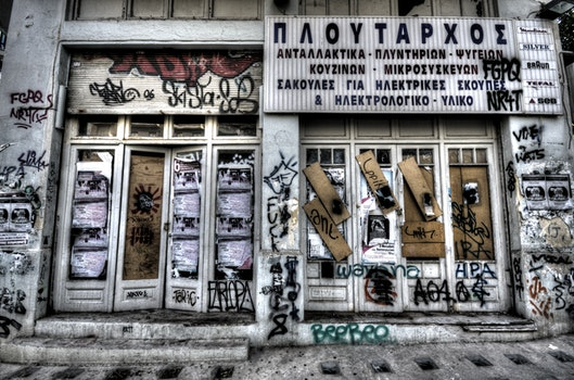 Free stock photo of graffiti, door, closed, greece