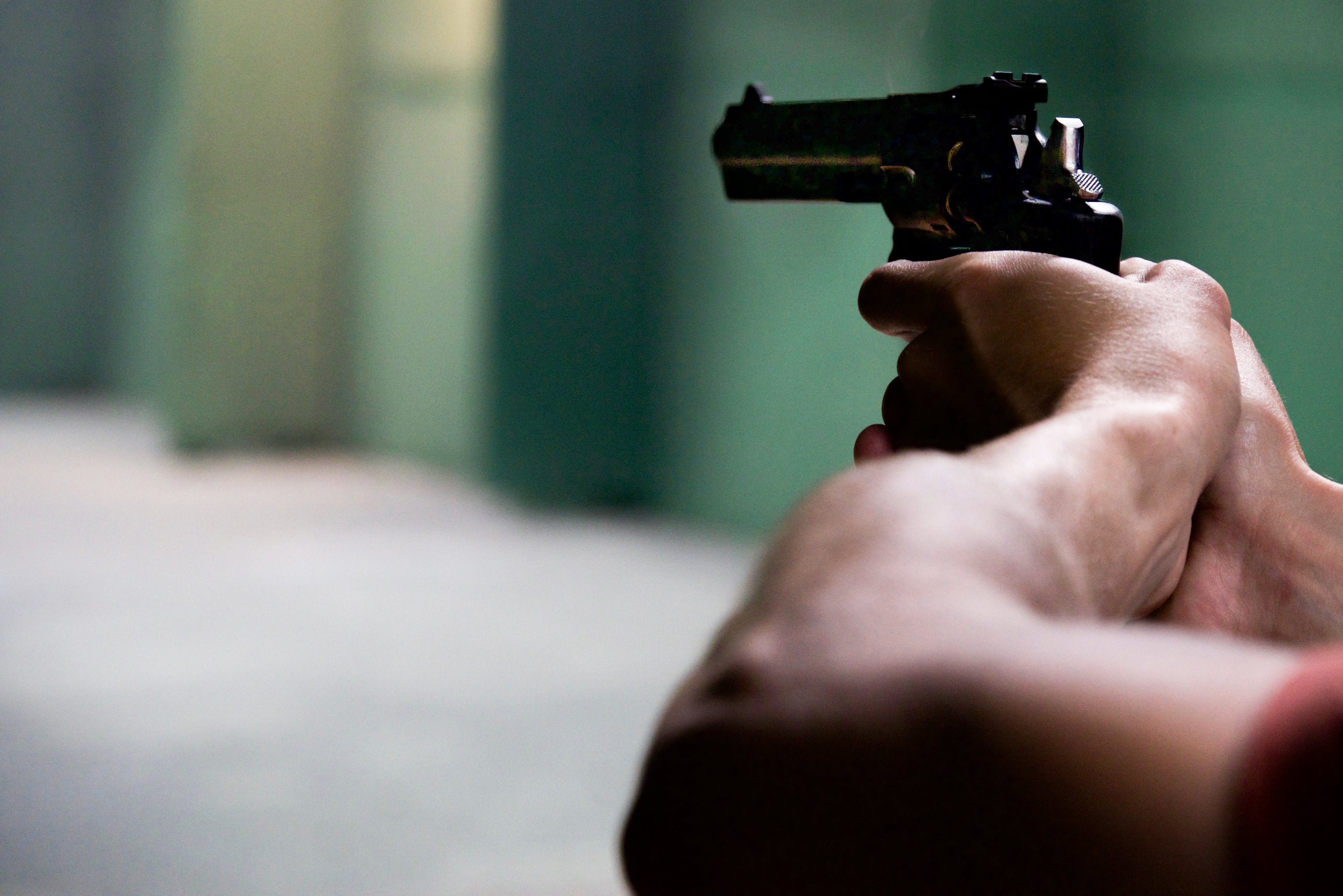 Person Holding Black Revolver in Bokeh Photography