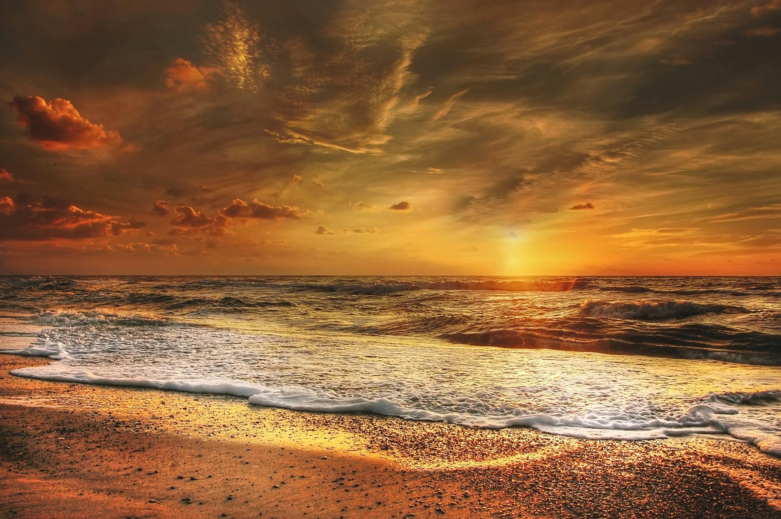 Sunset Seashore Waves
