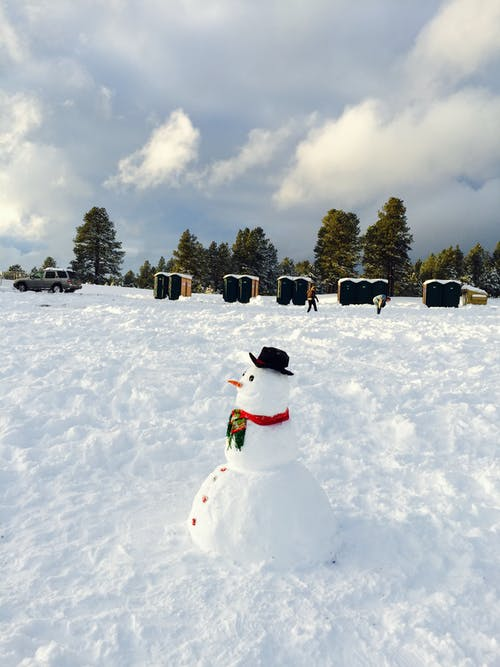 Snowman on Snow Covered Ground