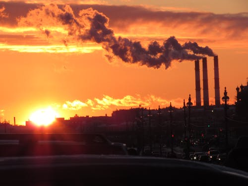 Free stock photo of city, industry, smoke, sun