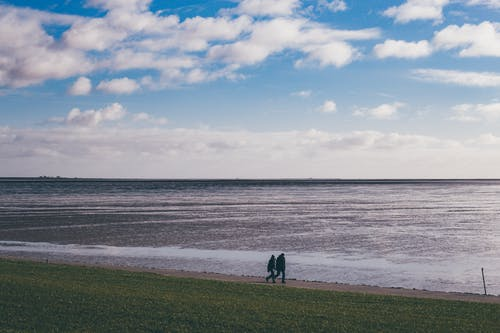 People Walking on Green Grass Field Near Sea Under Blue and White Cloudy Sky