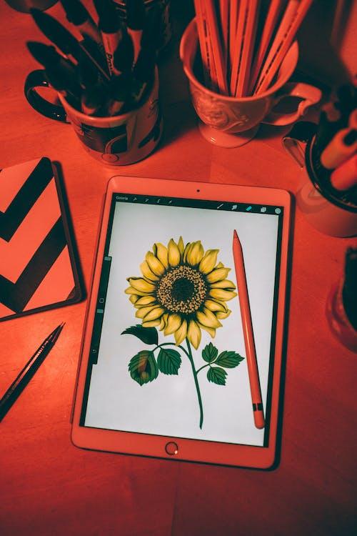 Weiße Und Grüne Blumenmalerei