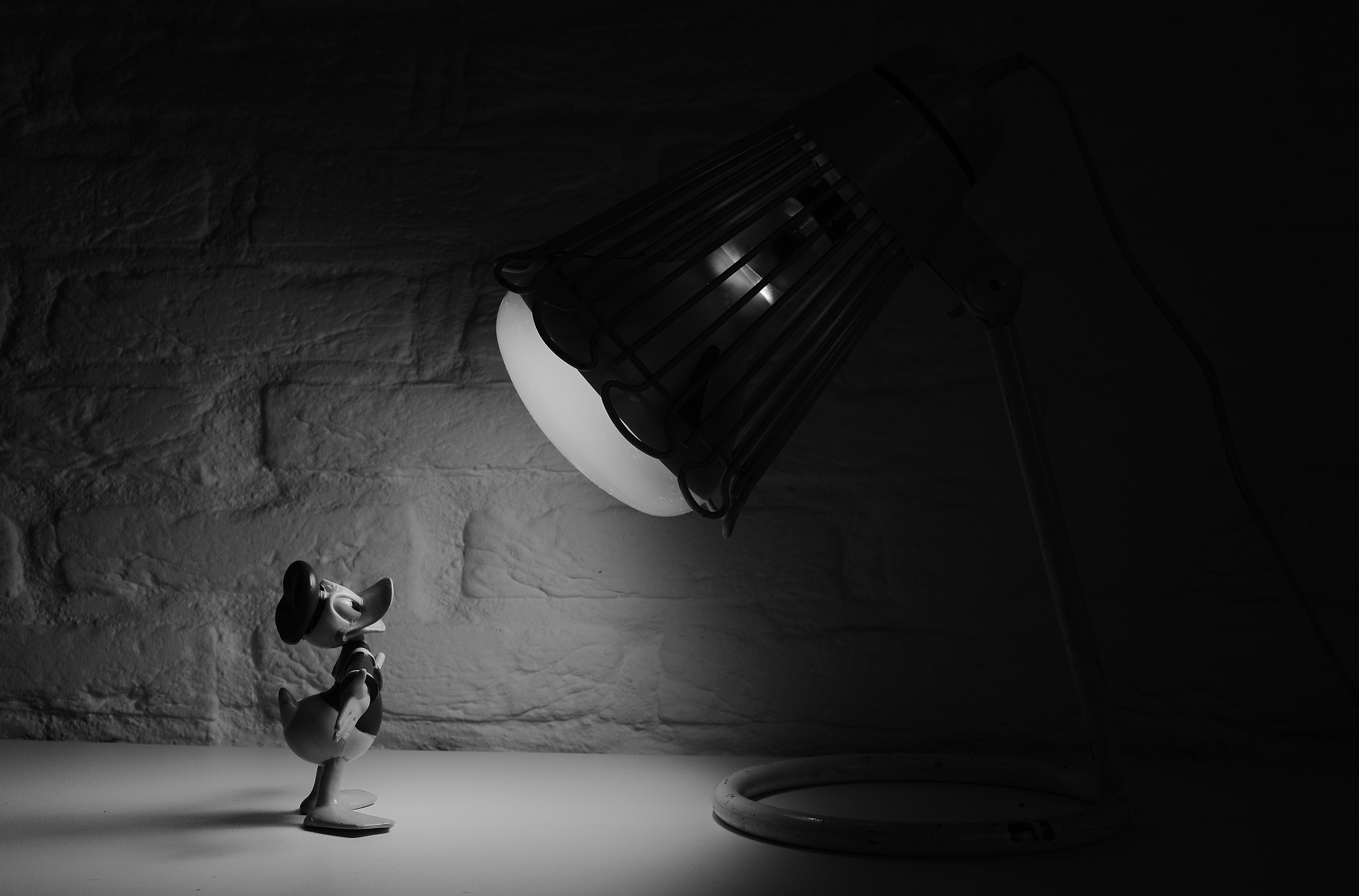 Grayscale Photography of Donald Duck in Front of Lamp