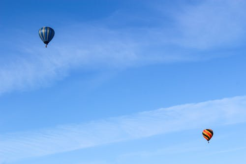 Blue and White Hot Air Balloon in the Sky