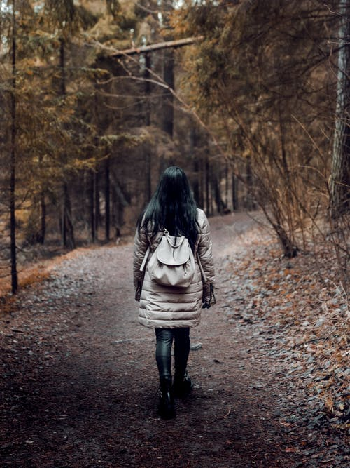 Woman Carrying a Backpack  Walking on Pathway Surrounded by Trees