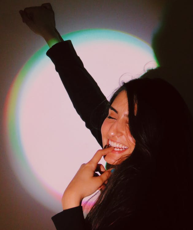 Free stock photo of colored lights, fun, girl