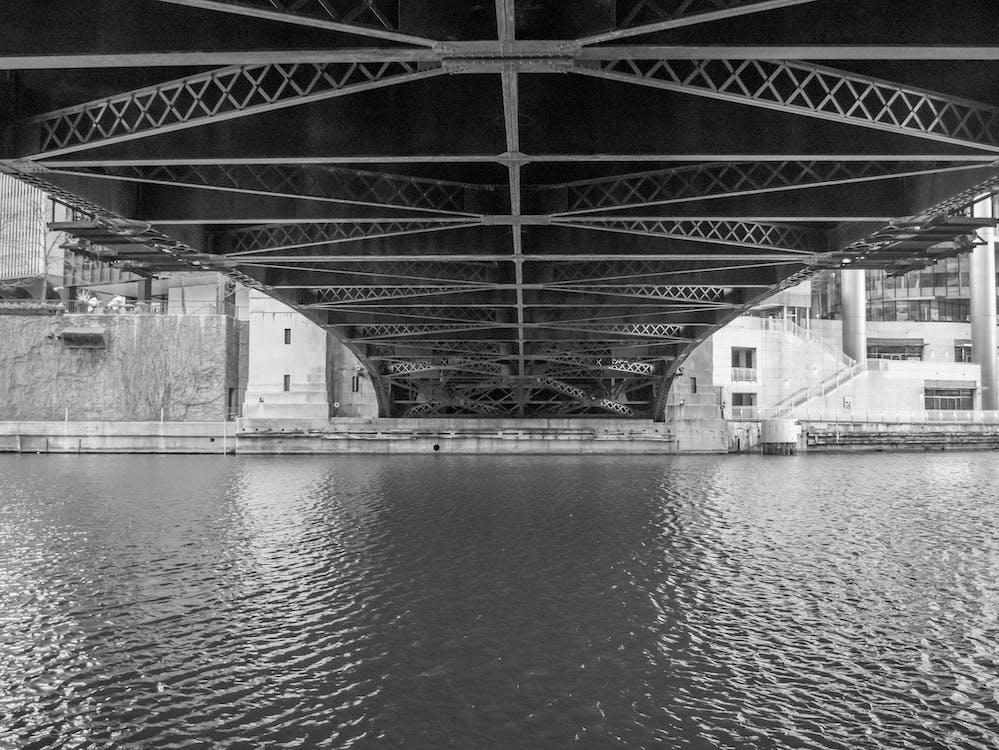 мост, под, черно-белый
