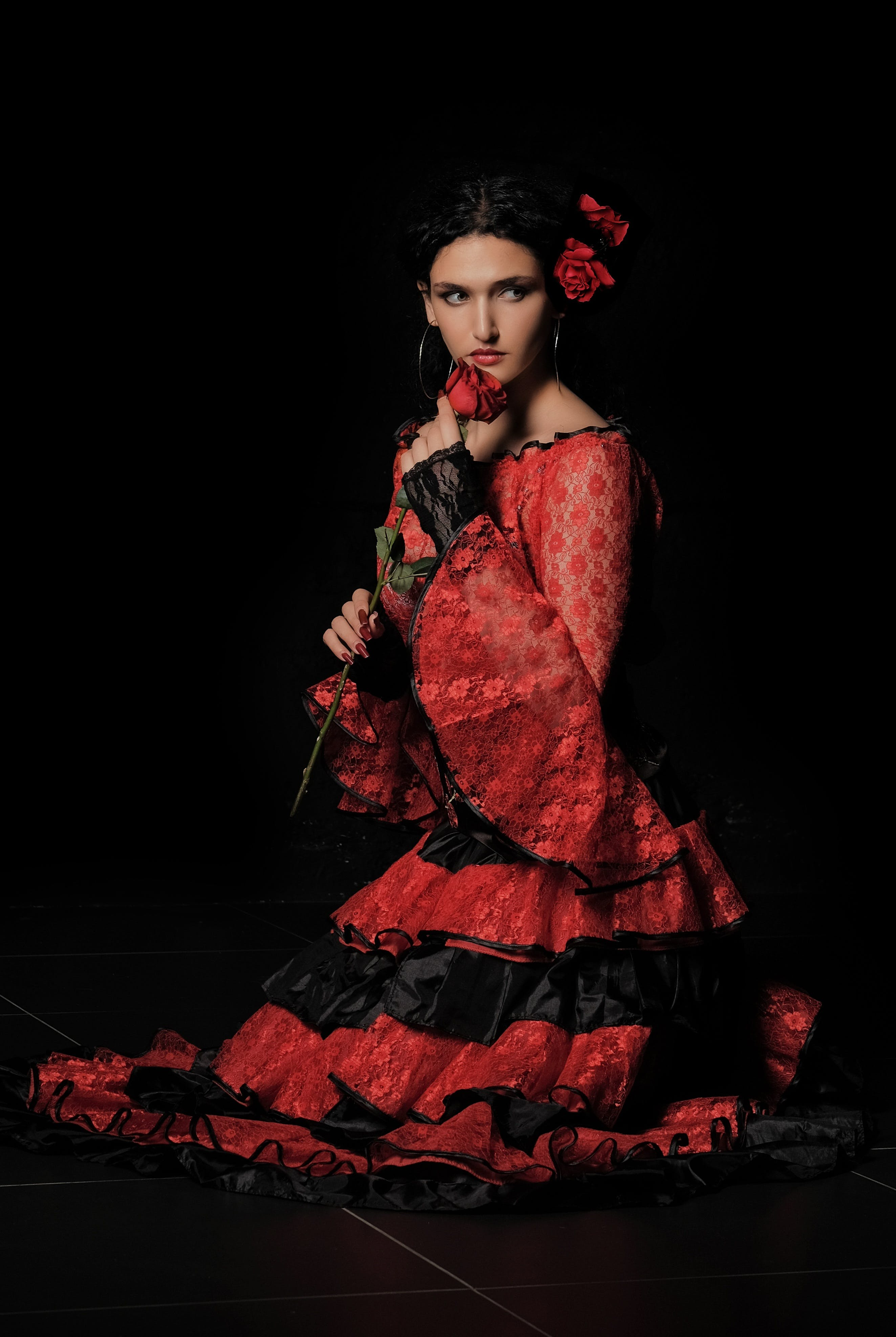 Free stock photo of red, girl, rose, scene