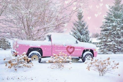 下雪的, 冬季, 卡車, 情人節 的 免费素材照片
