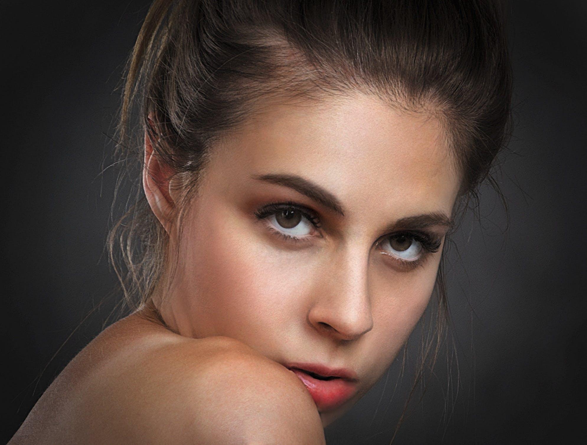 beauty, brunette, closeup