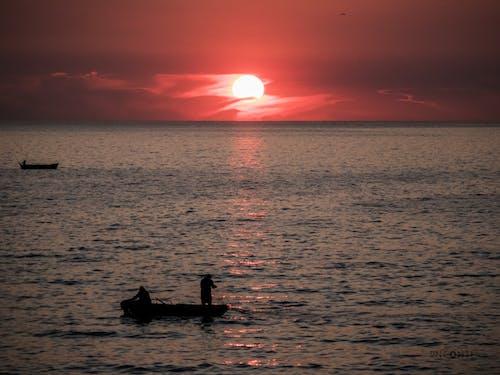 Free stock photo of Beautiful sunset, catching fish
