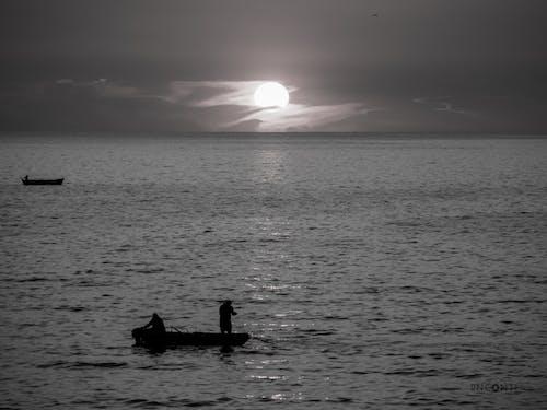 Free stock photo of beach sunset, black and white
