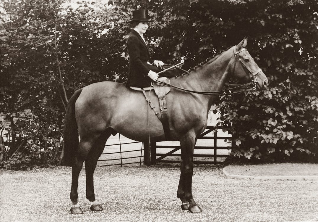 Grayscale Photo of Woman Seated on Horse