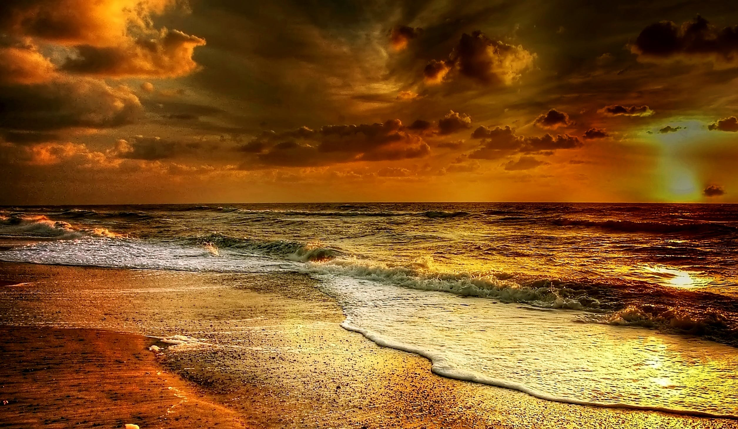 afterglow, atmosphere, beach