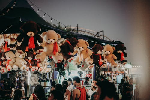 People Gathering in a Street With Animal Plush Toys