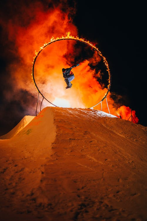 Ski Exhibition On Fire Show