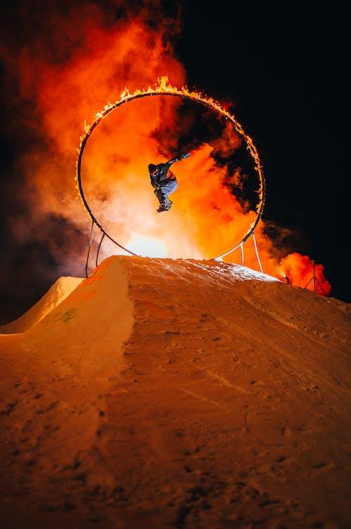 Ski Exhibition On Fire Show