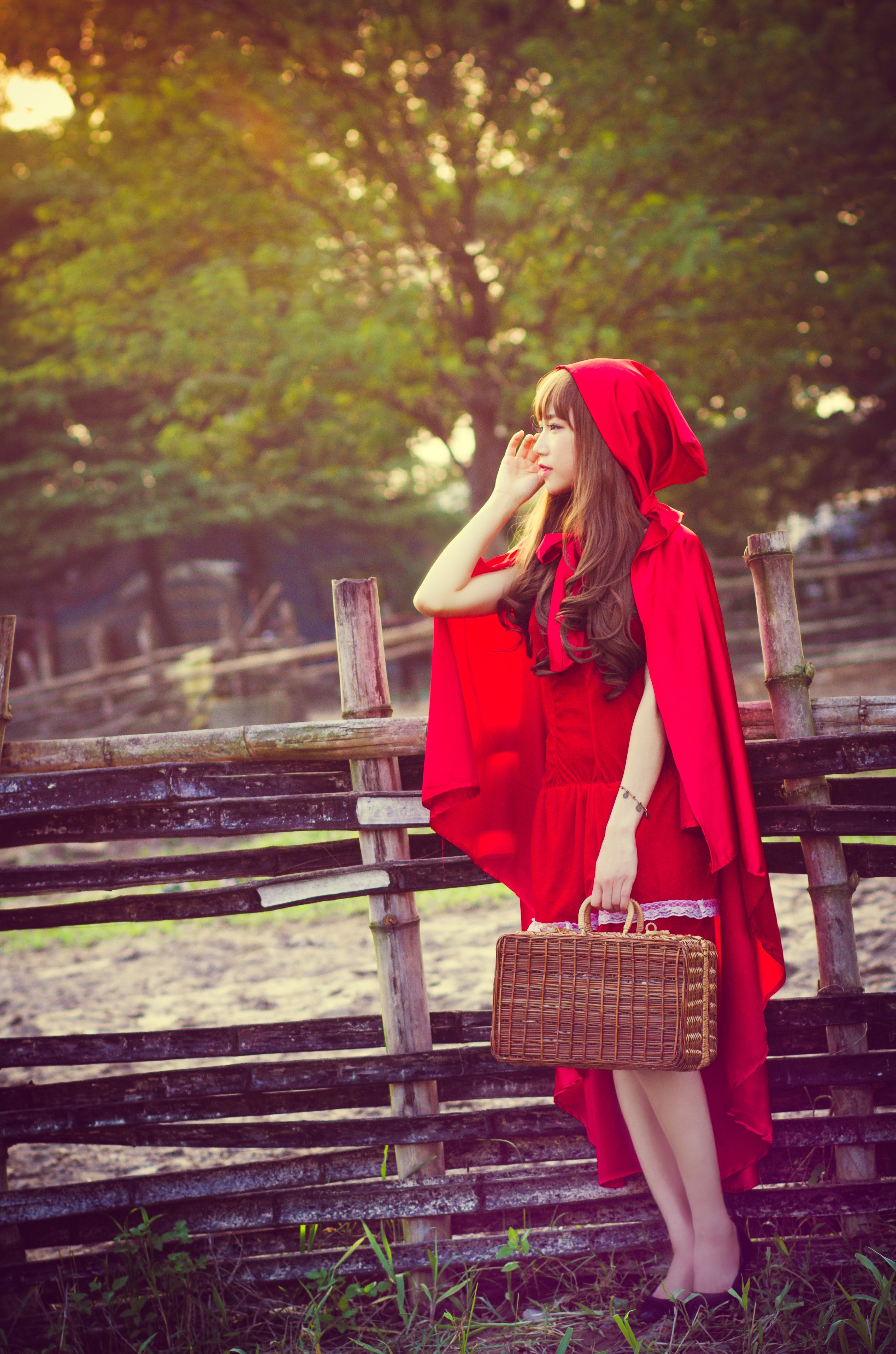 Woman Wearing Little Red Riding Hood Costume