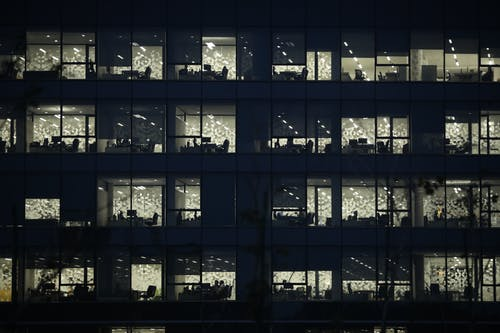 Office Buildings during Night Time