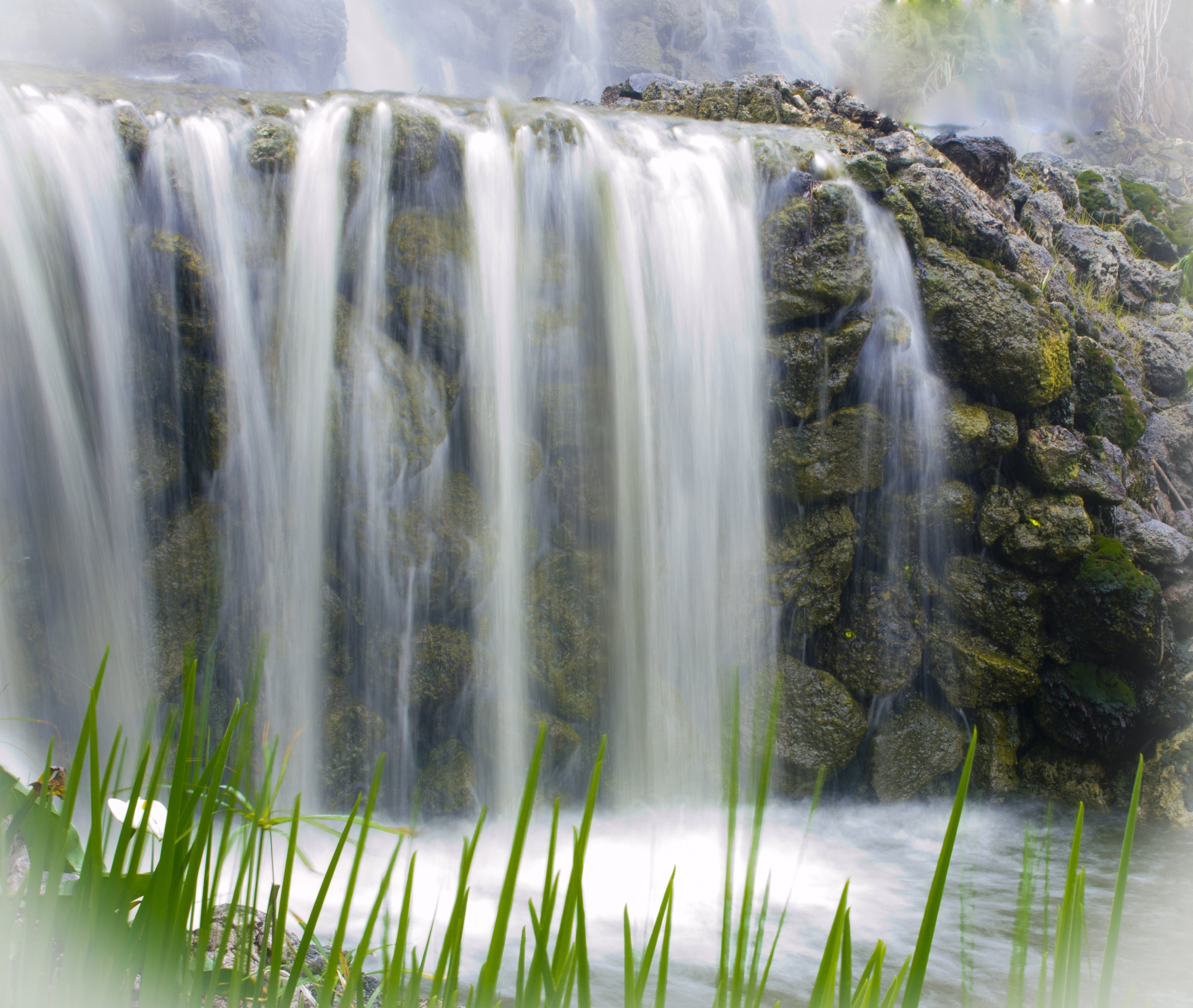 Waterfall Near Grass Field