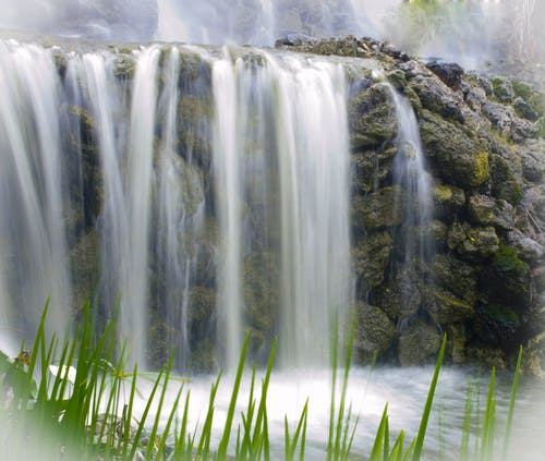 Waterfall Near Grass Field