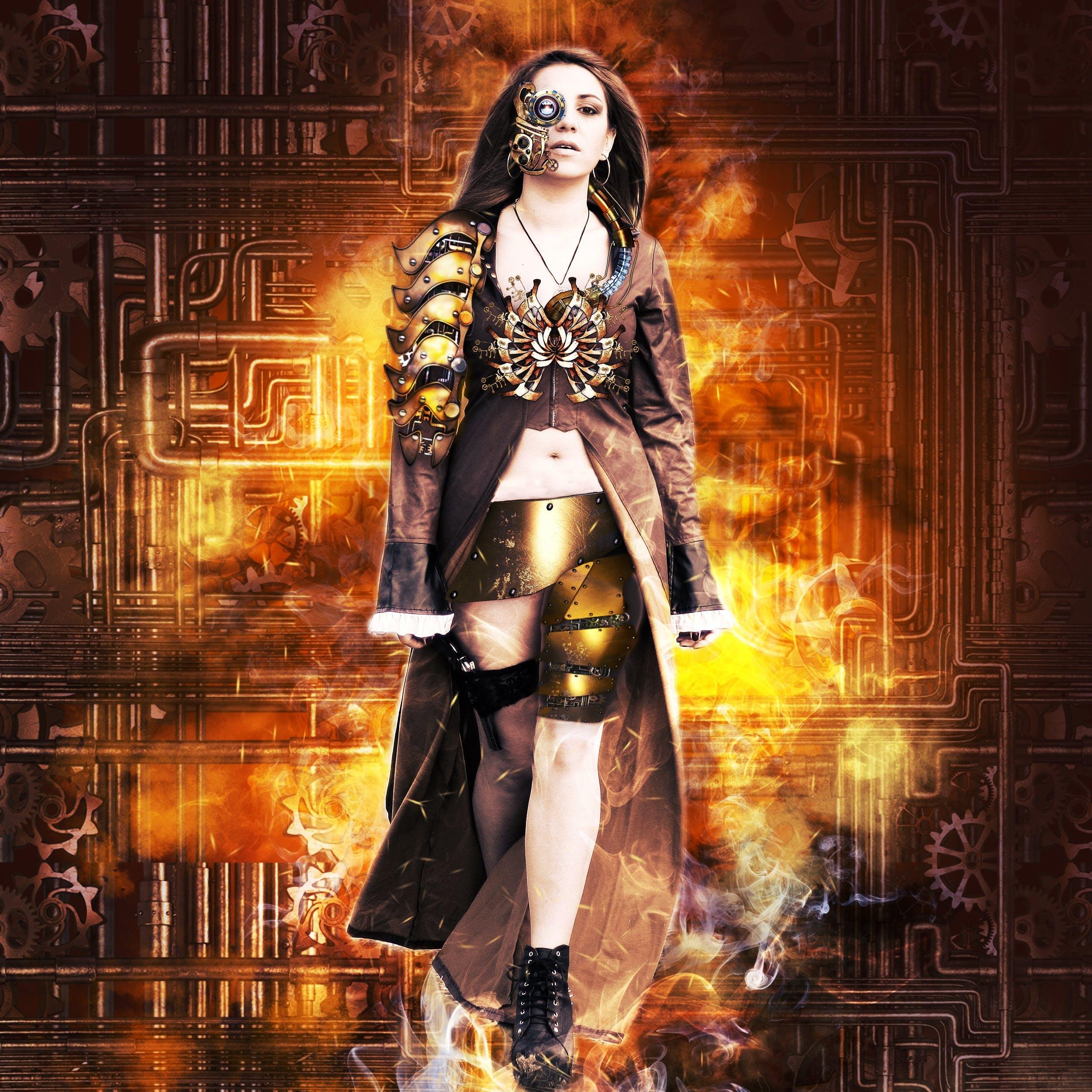 Free stock photo of girl, fire, design, eye
