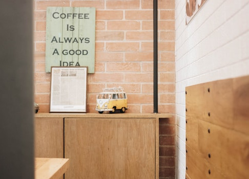 Free stock photo of restaurant, bricks, quote, cafeteria