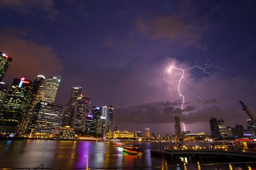 Lightning and Skyline Photo of Cityscape
