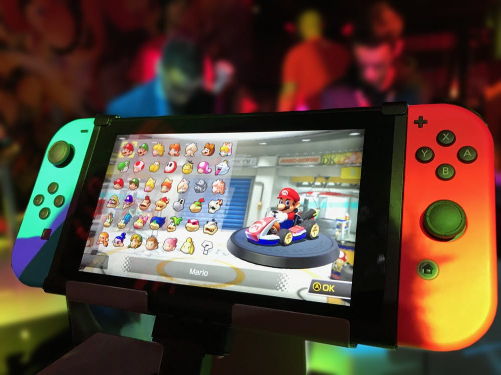 Turned-on Red and Green Nintendo Switch