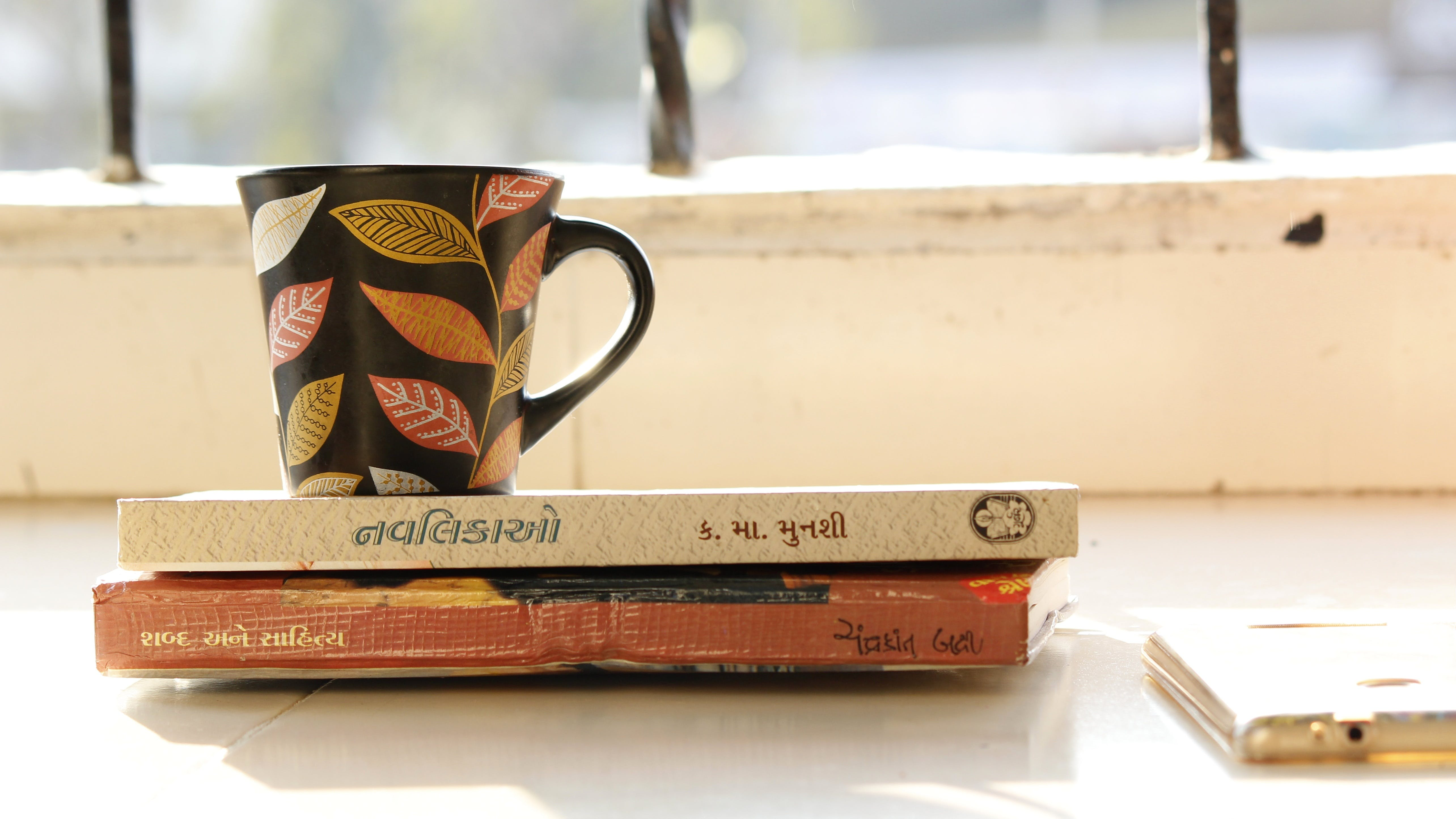 Free stock photo of coffee, cup, mug, books